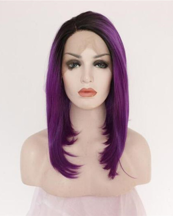 2018 New Dark Purple Synthetic Lace Front Wigs Medium Long Straight Hair Wig