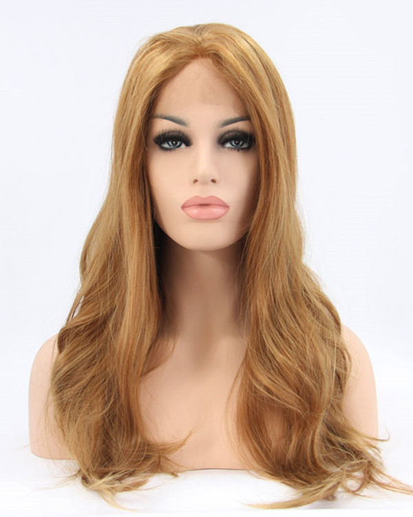 2017 New Dark Honey Blonde Synthetic Lace Front Wigs Long Wavy Hair Wig