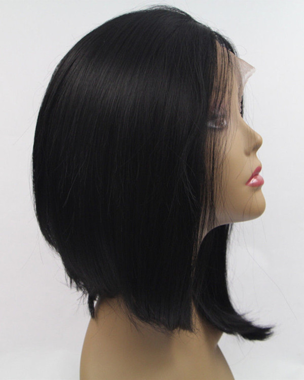 2017 New Black Bob Synthetic Lace Front Wigs Short Straight Natural Black Hair Wig