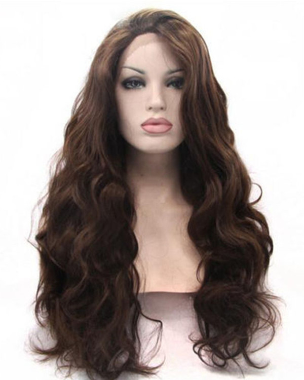 2018 Best Seller Dark Brown Synthetic Lace Front Wigs #2 Long Wavy Brown Hair Wig