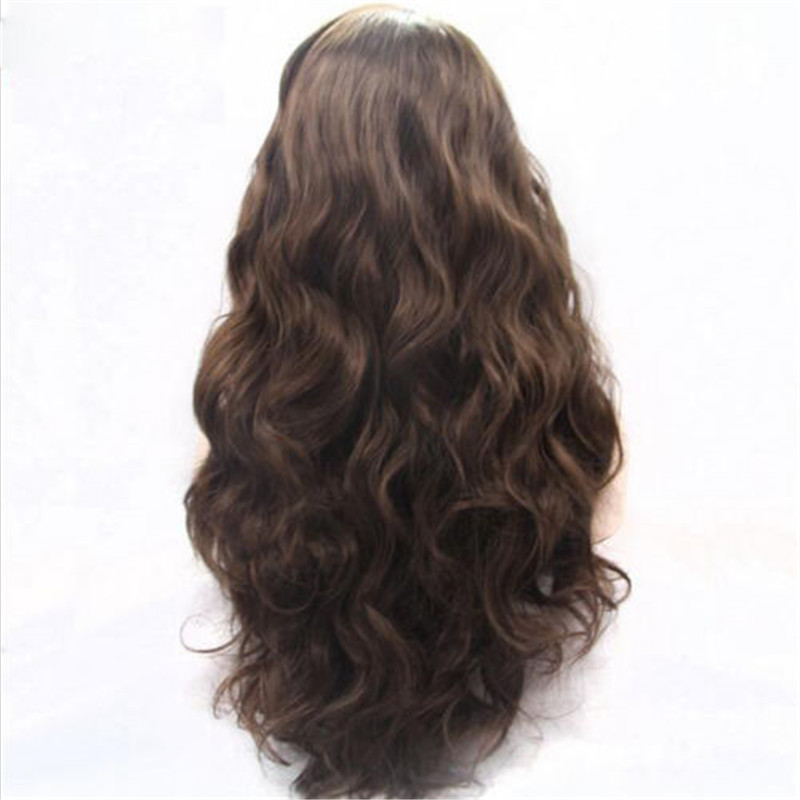 2017 Best Seller Dark Brown Synthetic Lace Front Wigs #2 Long Wavy Brown Hair Wig [XMKY1710517 ...
