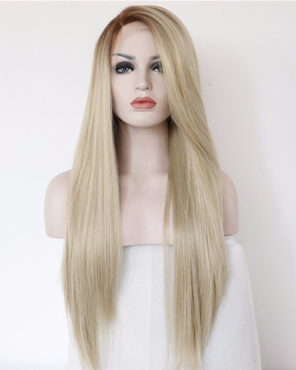 2018 Best Seller Ash Blonde Ombre Synthetic Lace Front Wigs Long Straight Light Blonde Hair Wig