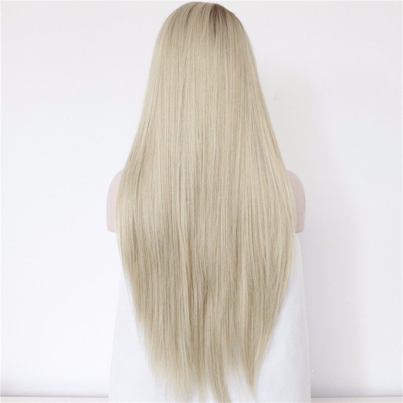 2017 best seller ash blonde synthetic lace front wigs long