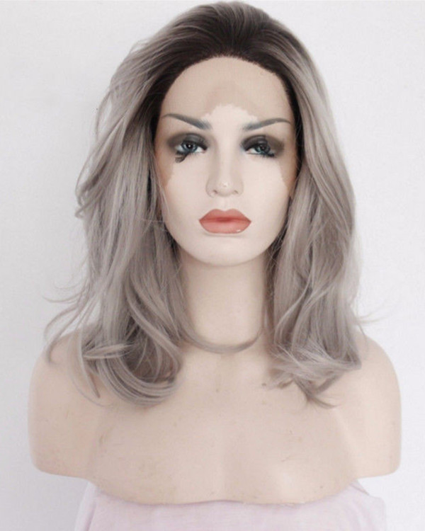 2017 Best Seller Granny Grey Ombre Synthetic Wavy Lace Front Wigs Short #1B/Grey Ombre Medium Long Wavy Hair Wig
