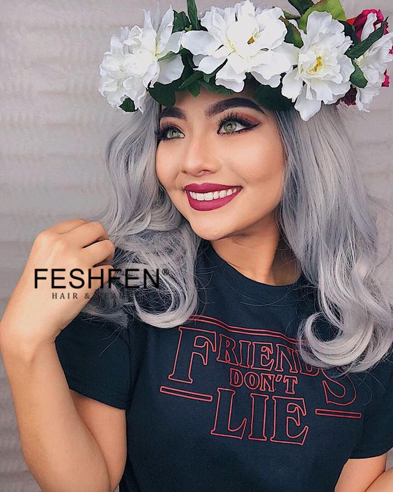 2018 Best Seller Granny Grey Ombre Synthetic Wavy Lace Front Wigs Short #1B/Grey Ombre Medium Long Wavy Hair Wig