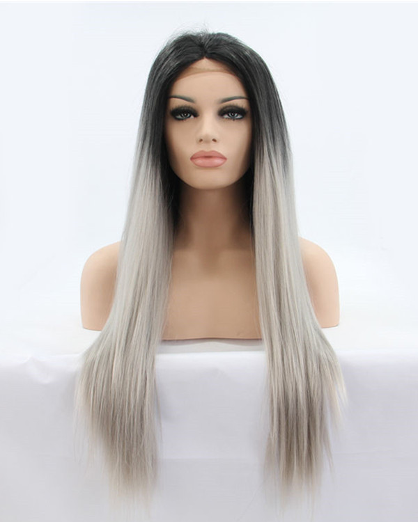 2017 New Grenny Grey Ombre Synthetic Lace Front Wigs #1B/Grey Long Straight Ombre Grey Silver Hair Wig