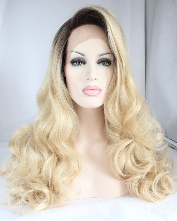 2017 New Arrival #1B/ 613 Light Blode Ombre Synthetic Wavy Lace Front Wigs Light Blonde Long Wavy Lace Wig