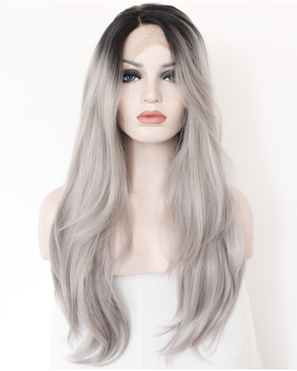2017 Best Seller Granny Grey Ombre Natural Wave Synthetic Lace Front Wigs 180% Density #1B/Grey Long Wavy Lace Wig