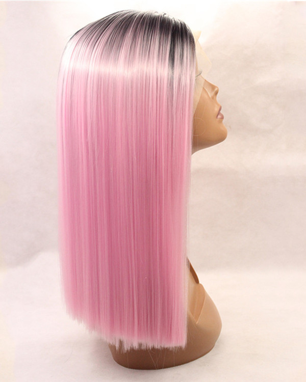 2018 Best Seller Black Pink Ombre Synthetic Lace Front Wigs 180% Density Long Blunt #1B/Pink Straight Ombre Wig
