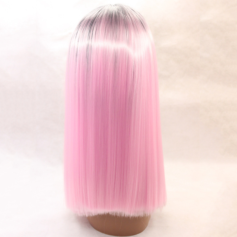 2017 Best Seller Black Pink Ombre Synthetic Lace Front Wigs 180% Density Long Blunt #1B/Pink Straight Ombre Wig