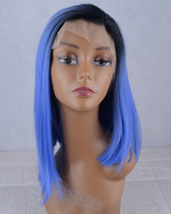 2018 New Arrival Black Blue Ombre Synthetic Lace Front Wigs 180% Density Medium Long Blunt #1B/Blue Straight Ombre Wig