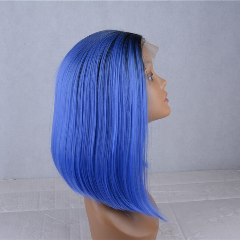 2017 New Arrival Black Blue Ombre Synthetic Lace Front Wigs 180% Density Medium Long Blunt #1B/Blue Straight Ombre Wig