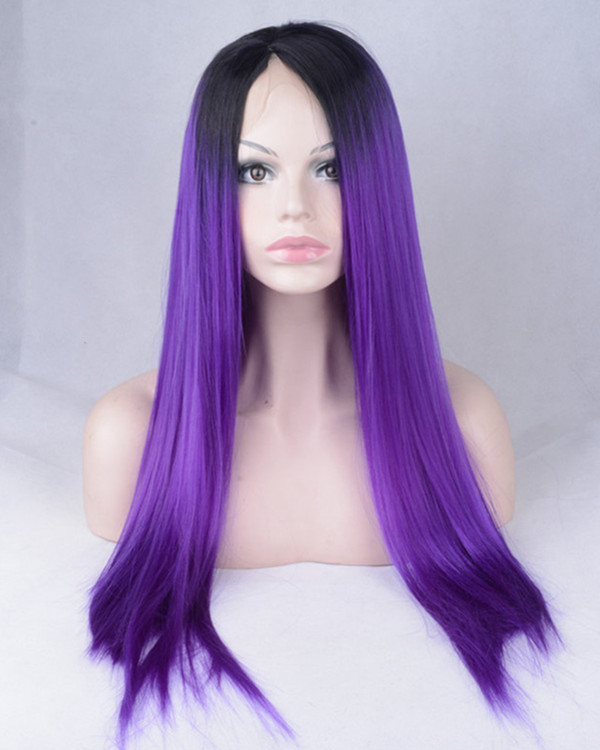 2017 New Arrival Purple Ombre Synthetic Lace Front Wig 180% Density #1B/Purple Violet Long Straight Wig