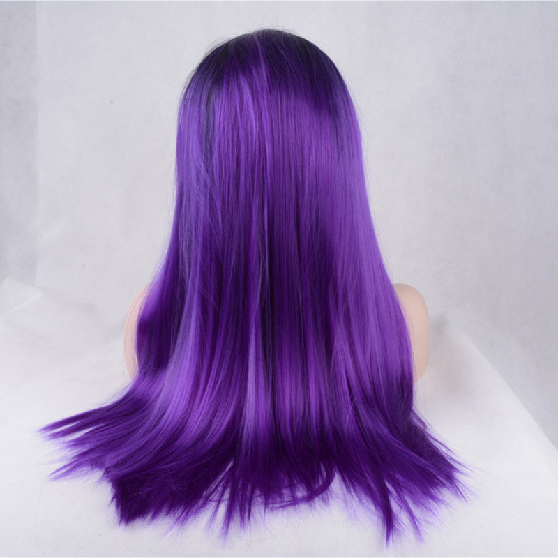 2018 New Arrival Purple Ombre Synthetic Lace Front Wig 180% Density #1B/Purple Violet Long Straight Wig