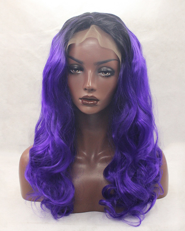 2017 New Arrival Purple Ombre Synthetic Lace Front Wig 180% Density Black Purple Violet Long Wavy Wig