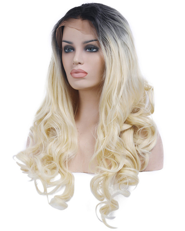 2017 New Arrival #1B/613 Blonde Ombre Body Wave Synthetic Lace Front Wigs 180% Density Long Wavy Wig