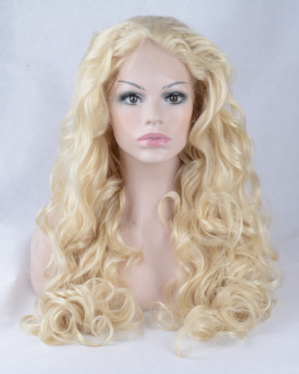 2017 New Arrival #613 Blonde Wavy Synthetic Lace Front Wigs 180% Density Long Body Wave Wig