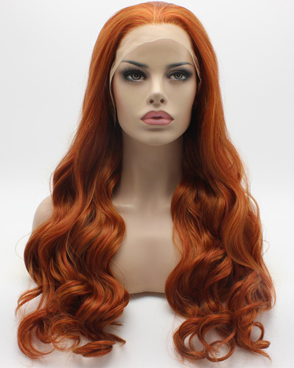 2017 New Arrival Light Auburn Synthetic Lace Front Wigs 180% Density Copper Red Orange Long Body Wave Wig