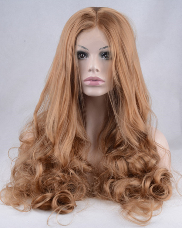 2017 New Arrival #12 Light Auburn Synthetic Lace Front Wigs 180% Density Long Wavy Brown Lace Wig