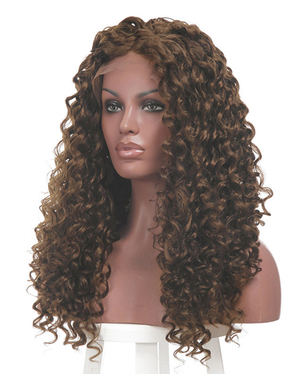 2017 New Arrival Brown Highlights Curly Wave Synthetic Lace Front Wigs 180% Density Long Curly Lace Wig