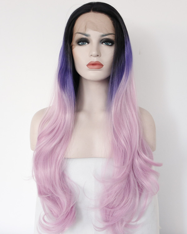 2018 New Purple Violet Ombre Wavy Synthetic Lace Front Wigs 180% Density Long Wavy Lace Wig