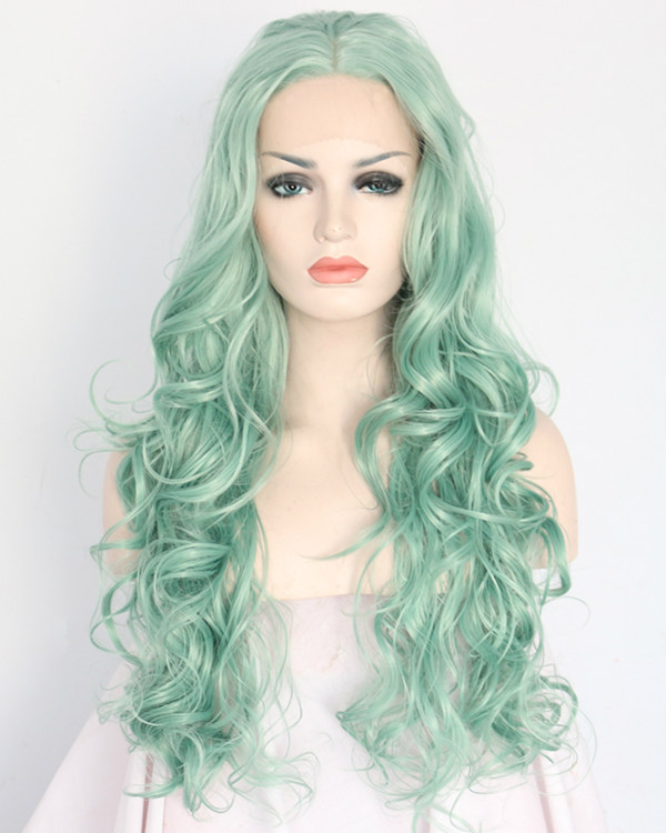 2018 New Mint Green Body Wave Synthetic Lace Front Wigs 180% Density Long Green Wavy Wig