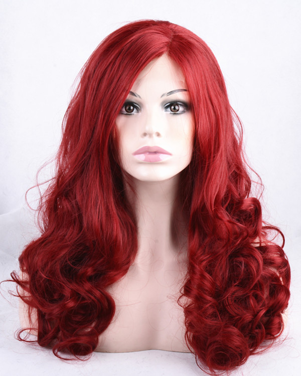 2018 New Arrival Dark Red Wavy Synthetic Lace Front Wigs 180% Density Wine Red Long Wavy Hair Wig