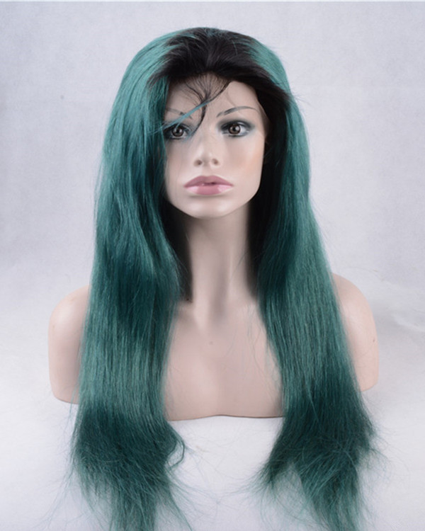 2017 New Arrival Teal Green Ombre Synthetic Lace Front Wigs 180% Density Black Green Long Straight Hair Wig
