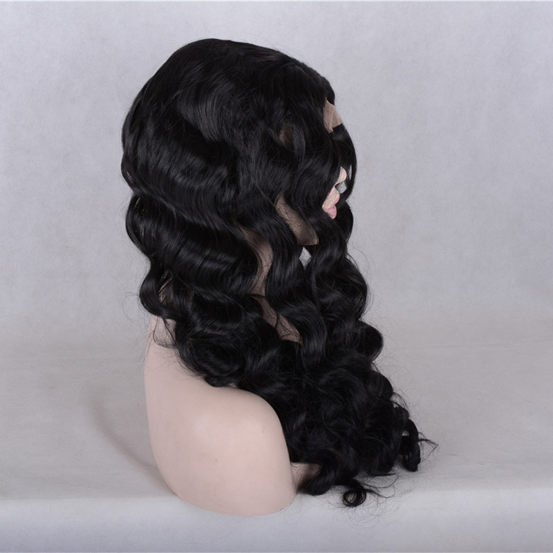 2017 New Arrival Natural Black Deep Wave Synthetic Lace Front Wigs 180% Density Black Long Wavy Hair Wig