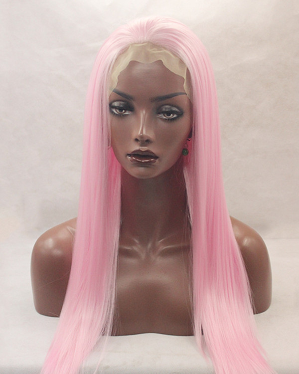 2017 New Arrival Pink Synthetic Lace Front Wigs 180% Density Pink Long Straight Hair Wig