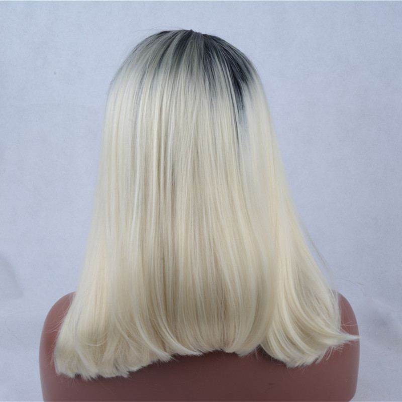 2017 New Arrival Light Blonde Ombre Synthetic Lace Front Wigs 180% Density Black Blonde Long Straight Hair Wig