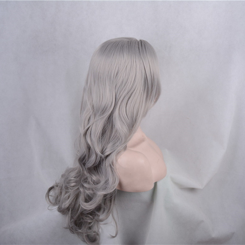 2018 New Arrival Granny Grey Body Wave Synthetic Lace Front Wigs 180% Density Sliver Grey Long Wavy Wig