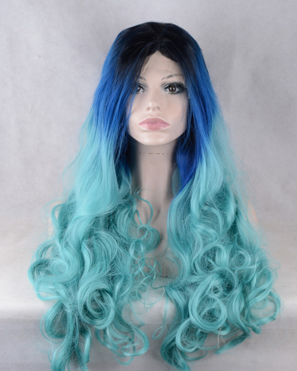 2018 New Arrival Black Blue Three Tones Ombre Synthetic Lace Front Wigs 180% Density Mermaid Blue Long Wavy Wig