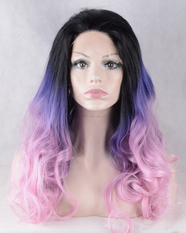 2017 New Black Purple Pink Ombre Synthetic Lace Front Wigs 180% Density Three Tones Violet Long Wavy Mermaid Rainbow Wig