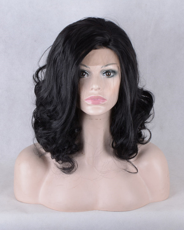 2017 New Black Wavy Synthetic Lace Front Wigs 180% Density Medium Long Wavy Wig
