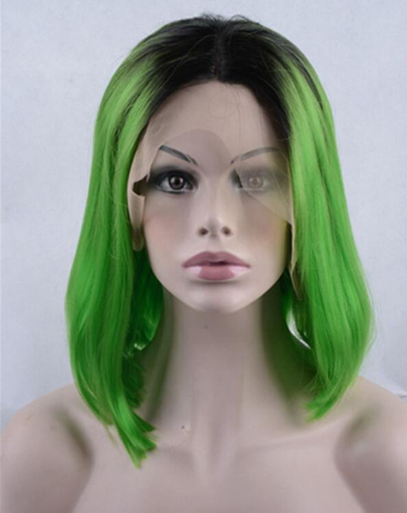 2018 New Black Green Ombre Synthetic Lace Front Wigs 180% Density Medium Long Straight Wig