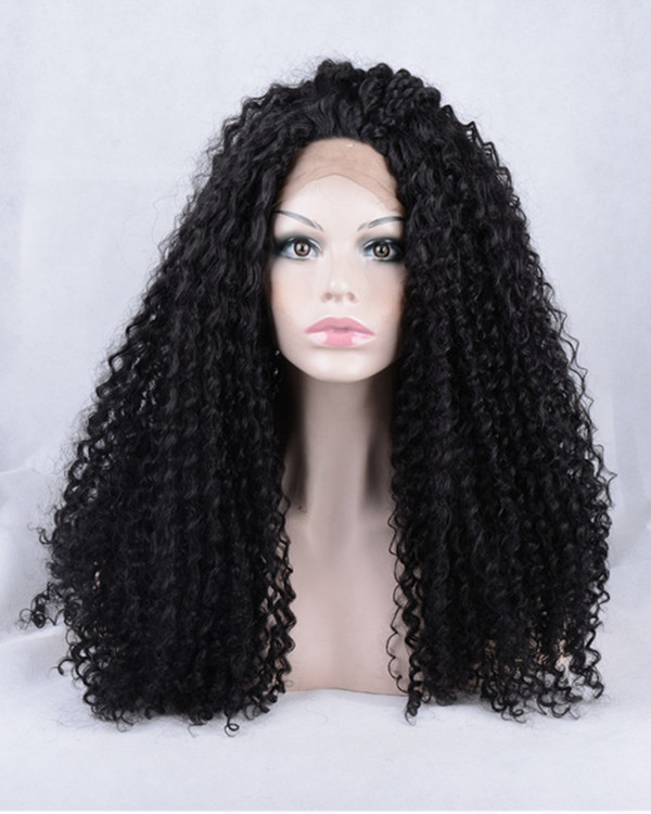 2017 New Natural Black Kinky Curly Synthetic Lace Front Wigs 180% Density Long Wavy Wig