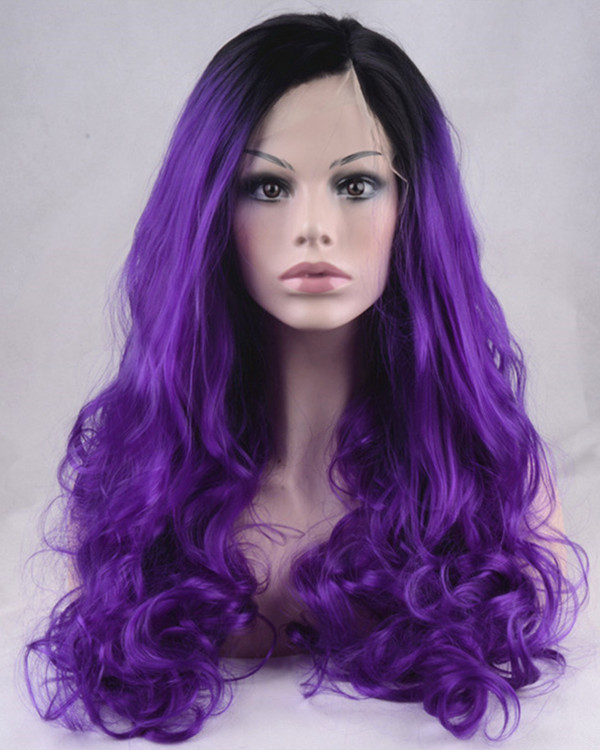 2017 New Black Purple Ombre Synthetic Lace Front Wigs 180% Density #1B/Purple Long Wavy Wig