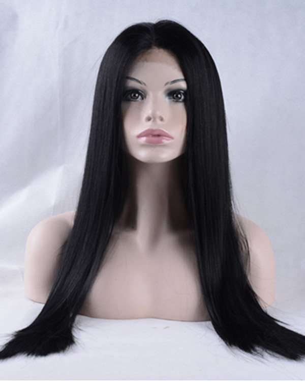 2017 New Natural Black Light Yaki Straight Synthetic Lace Front Wigs 180% Density Natural Black Long Straight Wig
