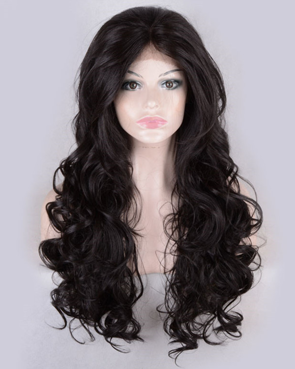 2017 New Natural Black Body Wave Synthetic Lace Front Wigs 180% Density Long Wavy Wig