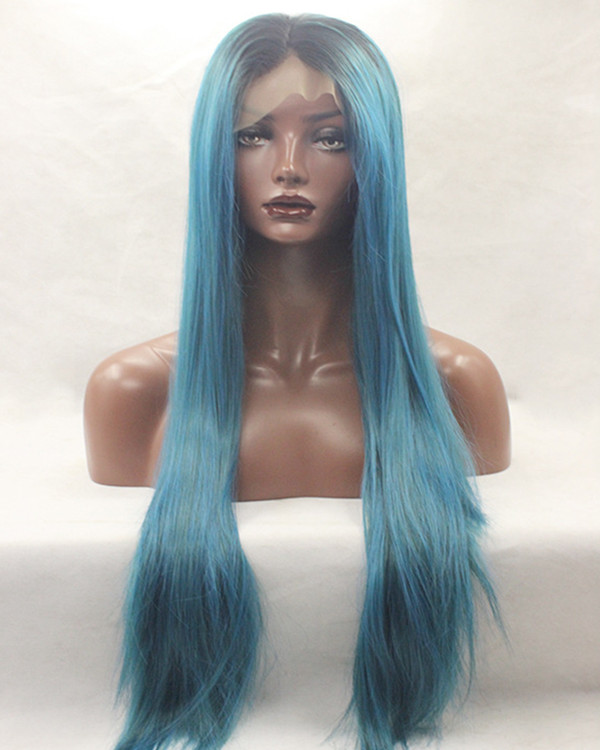 2017 New Teal Blue Ombre Straight Synthetic Lace Front Wigs 180% Density Long Black Blue Wig