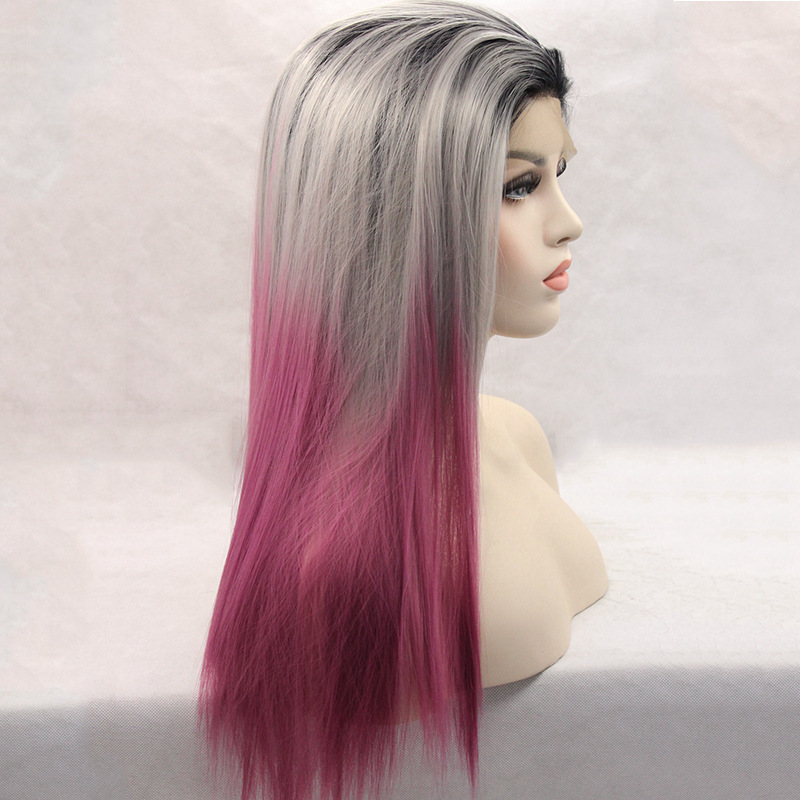 2018 New Silver Purple Ombre Straight Synthetic Lace Front Wigs 180
