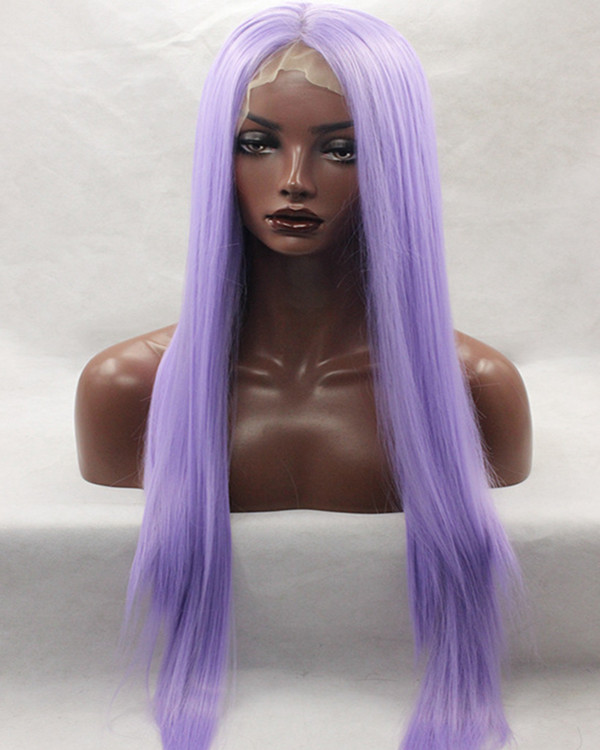 2017 New Lavender Straight Synthetic Lace Front Wigs 180% Density Long Purple Straight Wig