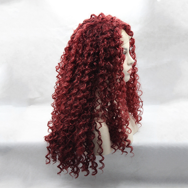 2017 Trendy Bungundy Red Curly Wave Synthetic Lace Front Wigs 180% Density Long Wine Red #99J Plum Red Wavy Wig