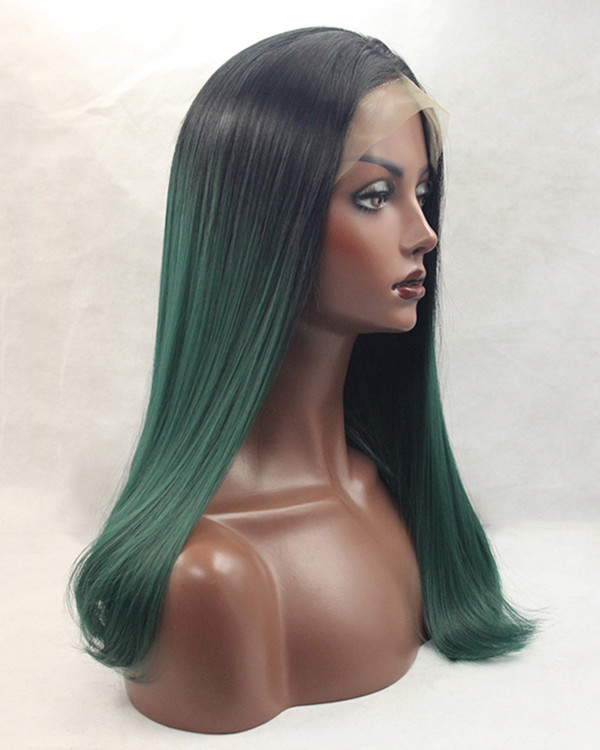 2018 Best Seller Deep Green Ombre Synthetic Lace Front Wigs 180% Density Long Teal Green Straight Wig