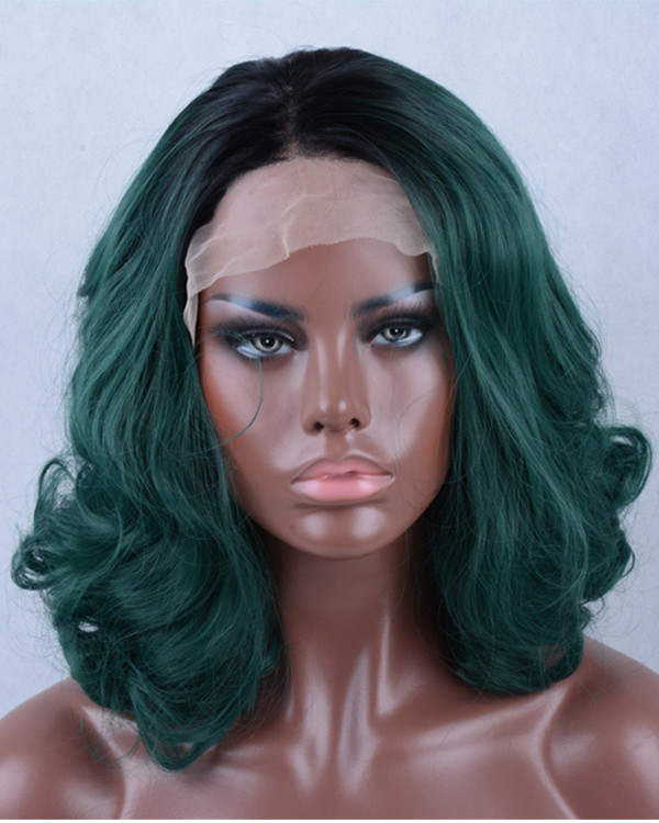 2017 Best-Seller Teal Green Ombre Short Wavy Synthetic Lace Front Wig 180 Density Black Green Lace Wig