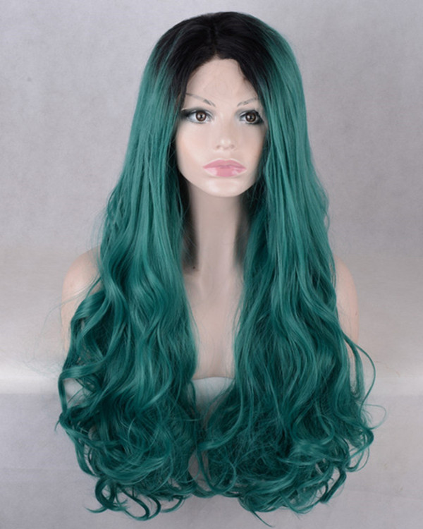 2018 New Arrival Teal Green Synthetic Lace Front Wigs 180% Density Green Long Wavy Wig