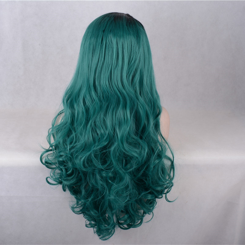 2017 New Arrival Teal Green Synthetic Lace Front Wigs 180% Density Green Long Wavy Wig