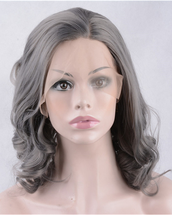 2017 New Granny Grey Wavy Synthetic Lace Front Wigs 180% Density Silver Grey Short Wavy Wig