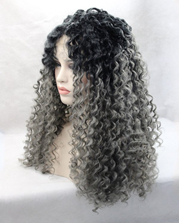 2017 New Arrival Granny Gray Ombre Curly Wave Synthetic Lace Front Wigs 180% Density Long Black Silver Wavy Wig